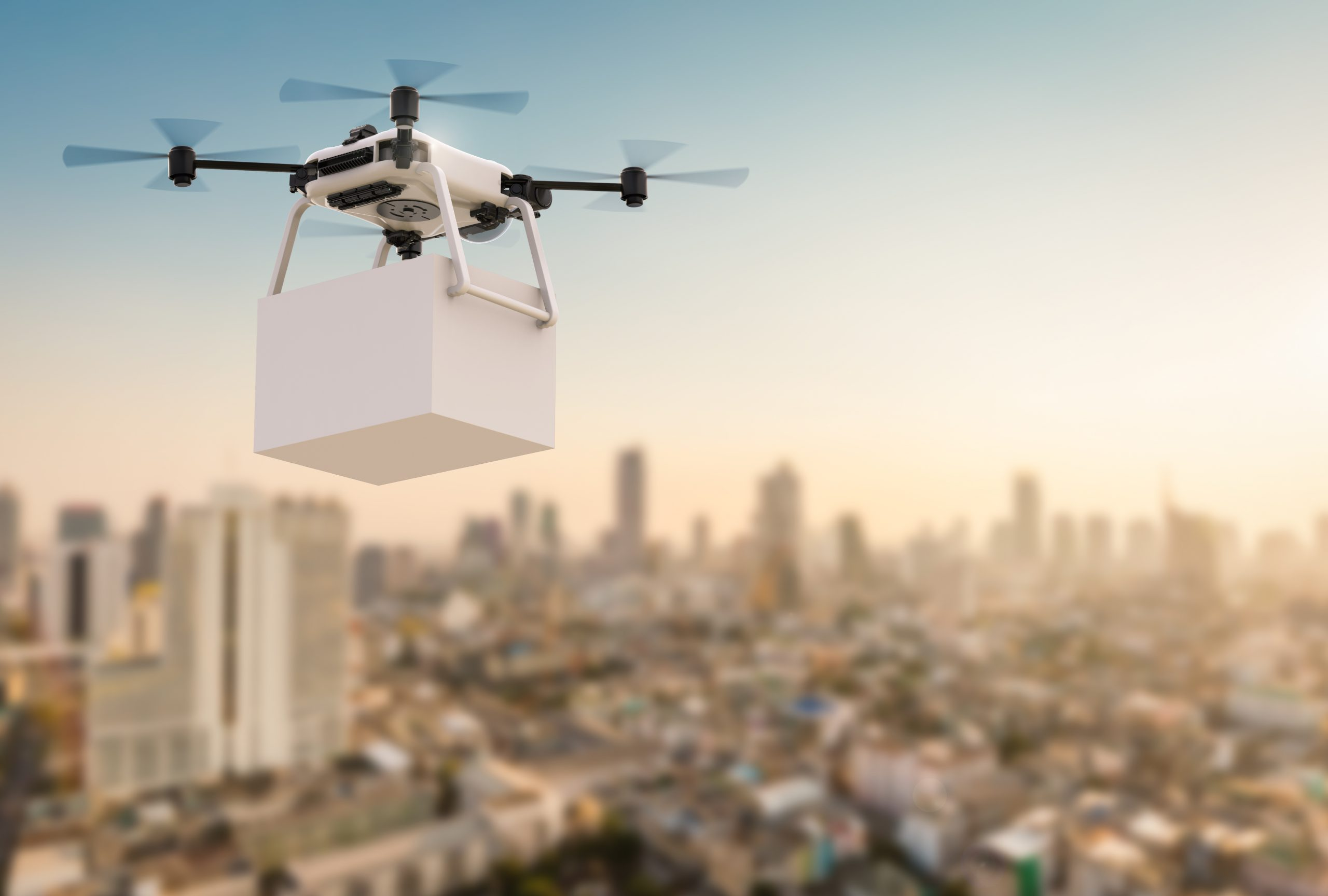 3d rendering delivery drone flying with cityscape background