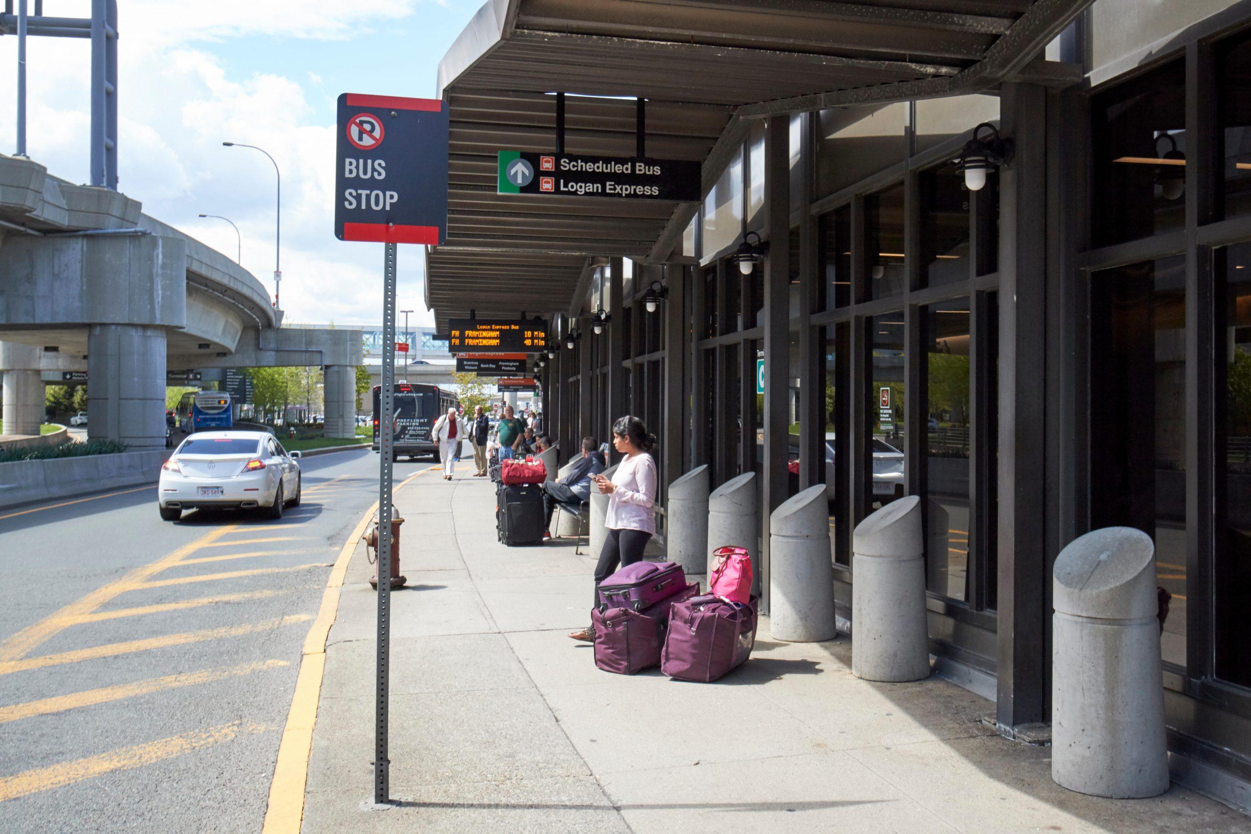 JCC3CJ bus stop outside Boston Logan international airport exterior USA