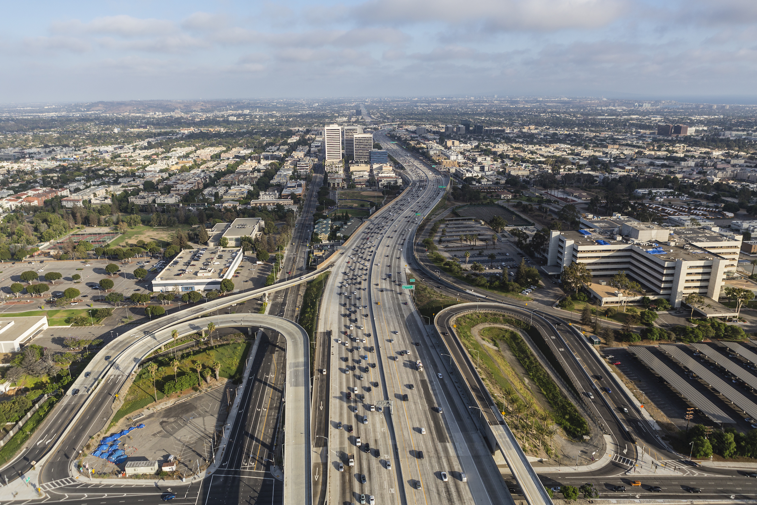 Aerial view of the San Diego 405 Freeway at Wilshire Blvd in West LA.
