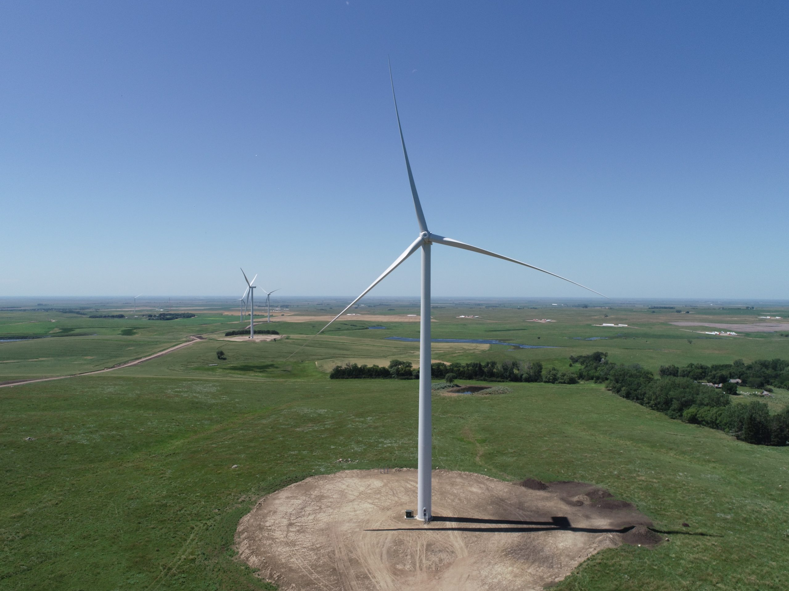 large field of wind turbines on a sunny day