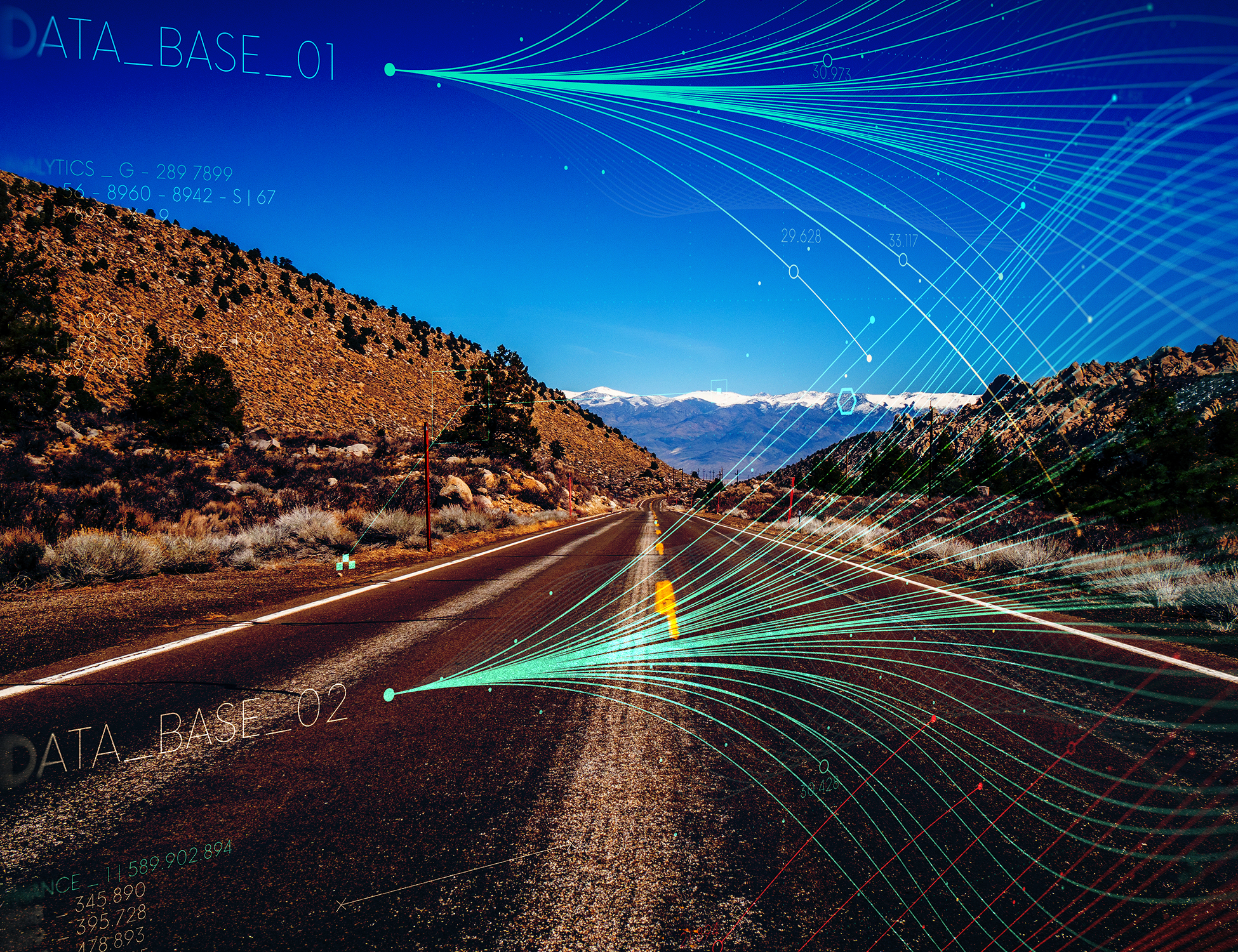 This graphic shows a desert highway at night with mountains in the background and streams of data shown overhead.
