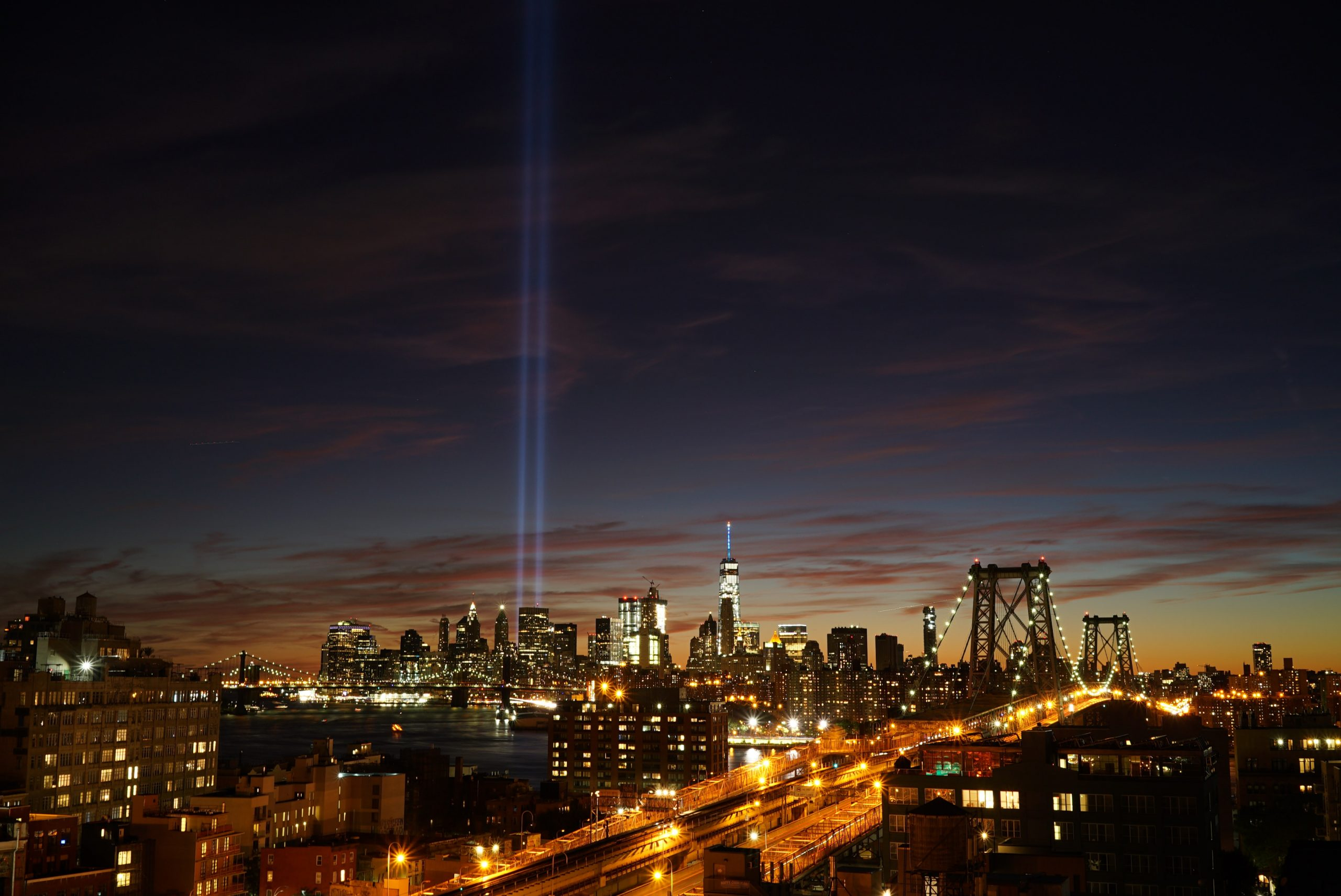 Freedom Tower and Twin Tower lights shown along New York City skyline following September 11